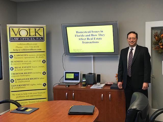 VolkLaw Attorney, Michael Dujovne Presents Homestead Issues in Florida